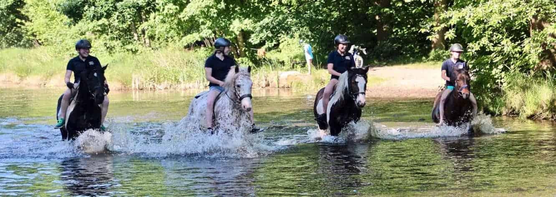 Gäste vom Reiterhof Severloh reiten durch das Wasser ohne Sattel