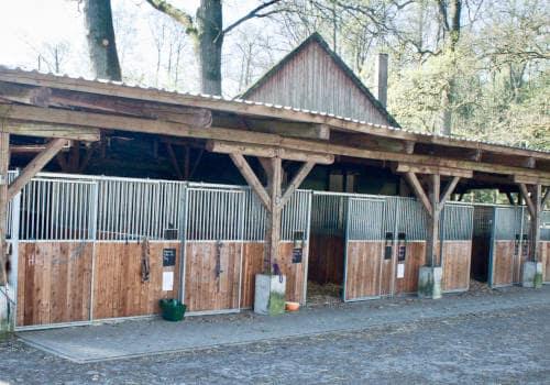 Blick auf Offenboxen der Pferde am Werksattstall auf Reiterhof Severloh