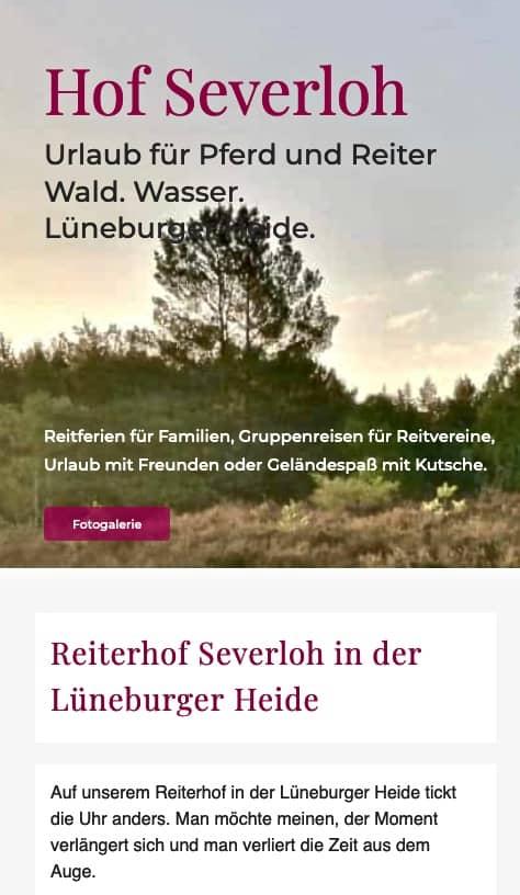 Bild der neuen, responive Reiterhof Severloh Website
